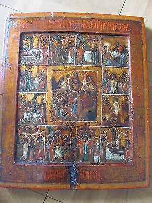 Antique Russian Icon Resurecton Of Jesus With Scene Of Life