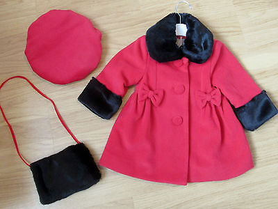 Girls Red Jingles Coat With Black Fur Trim & Hat  Set 12 Month-Winter 2017