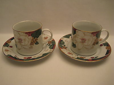 2 Tienshan Fine China Magnolia Cups And Saucers