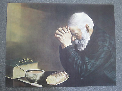 """""""Grace"""" picture of man praying over a meal 10"""" by 13"""" very traditional"""