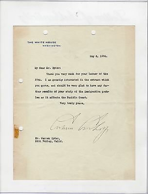 President Calvin Coolidge Signed Autographed White House Stationary Letter Psa