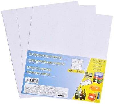 10 A4 SHEETS OF 24 WHITE PLAIN SELF ADHESIVE LABELS STICKERS PRINTER 7 X 3,71cm