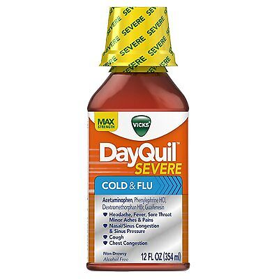 Vicks Dayquil Severe Cold & Flu Relief Liquid 12 Fl Oz