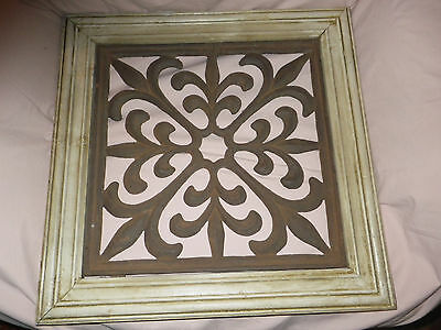 Large Vintage Ornate Wood Framed Cast Iron Grate