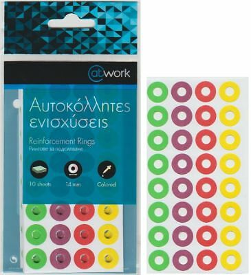 Atwork 320 Pcs Colored Self Adhesive Reinforcement Rings Stickers Sealed Packed
