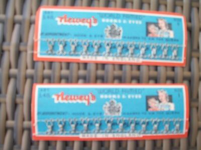 vintage small sewing craft hooks and eyes size 1 set of 12 two packs neweys