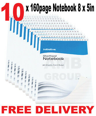 """10 x 160 Page Notepad Notebook Shorthand Pad 8"""" x 5"""" Premium Quality"""