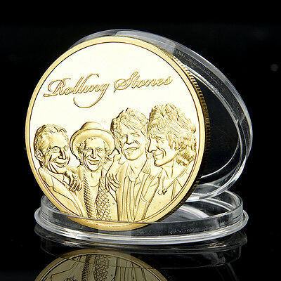 Gold Plated Rolling Stones Colored Commemorative Coin Collectable Iron Made Cool