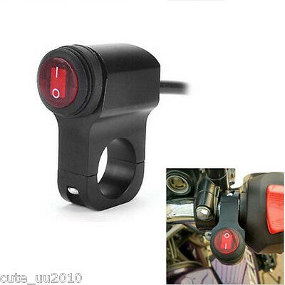 Waterproof LED Handlebar Headlight Fog Spot light On Off Switch For Motorcycle