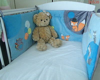 Baby cot bumper -embr.  fox and patchwork 50538