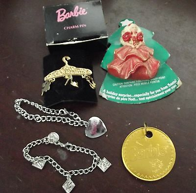 BARBIE Avon 1996 Collectible Brooch  Holiday Pin  Charm Bracelet