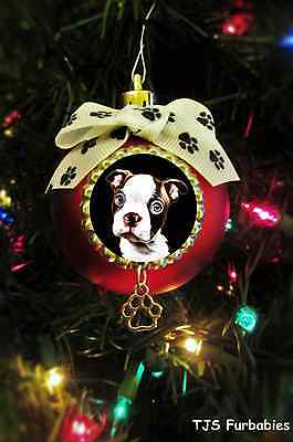 Boston Terrier Red White Puppy -Painted Christmas Ball Ornament Pet Lovers Gift