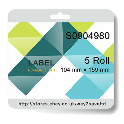 5x COMPATIBLE DYMO 4XL LABELS 104x159mm 220 Labels Each Extra Large S0904980