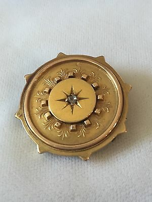 Victorian Gold Brooch With A Rose Cut Diamond