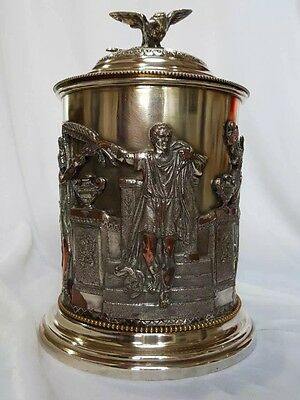 Antique Silver plate Lidded Biscuit Box W Guilt Interior And Figural Decoration