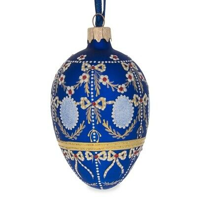 "4.5"" Alexander Palace Faberge Egg Glass Christmas Ornament"