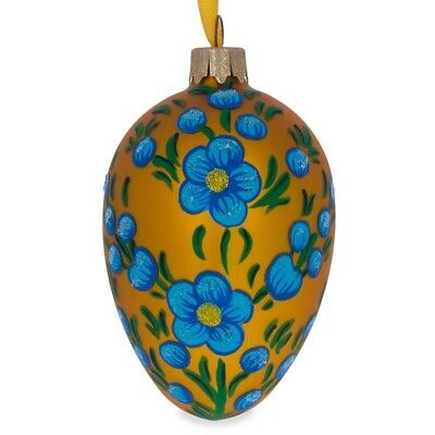 Blue Flowers on Orange Glass Christmas Ornament 4 Inches