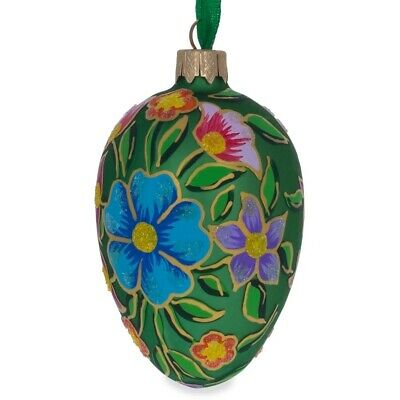 Colorful Flowers on Green Glass Christmas Ornament 4 Inches