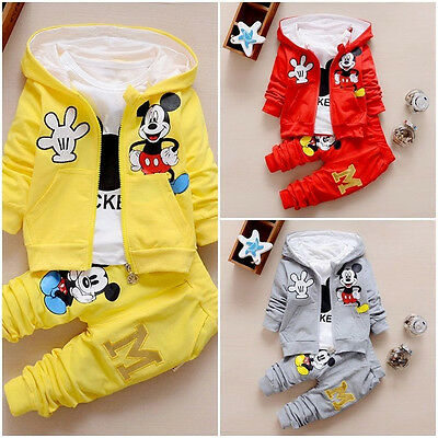 3Pcs/ Set Mickey Kids Baby Boys Girls Coat+T shirt+Pants Cotton Autumn Clothing