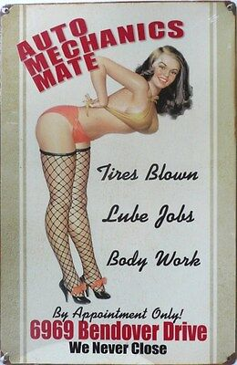 AUTO MECHANICS MATE, LUBE JOBS, BODY WORK  Metal tin Sign