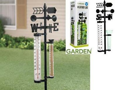Garden Weather Station Lab With Wind Spinner, Thermometer & Rainfall Gauge