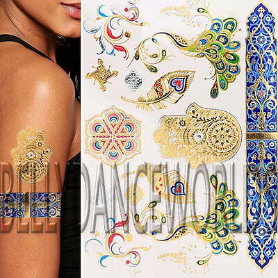 671486a0d Metallic Gold Feather Peacock Flash Temporary Tattoo Tribal Armband Body  Sticker
