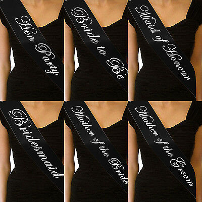 High ELEGANT BLACK HEN NIGHT SASH BRIDE ACCESSORIES PARTY SASHES GIRLS NIGHT OUT