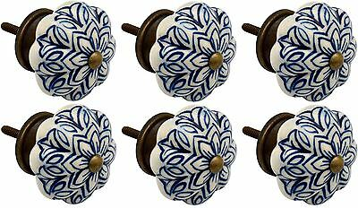 Ceramic Cupboard Drawer Knobs - Vintage Flower Design - Dark Blue - x6