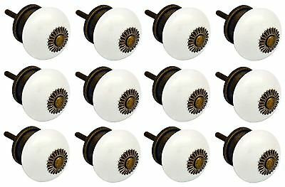 Nicola Spring Ceramic Cupboard Drawer Knobs - White - Pack Of 12