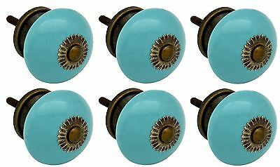Nicola Spring Ceramic Cupboard Drawer Knobs - Turquoise - Pack Of 6
