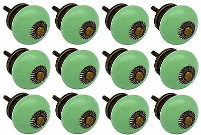 Nicola Spring Ceramic Cupboard Drawer Knobs - Green - Pack of 12