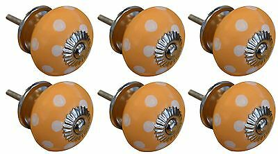 Ceramic Cupboard Drawer Knobs - Polka Dot Design - Orange / White - Pack of 6