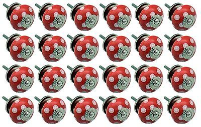 Ceramic Cupboard Drawer Knobs - Polka Dot Design - Red / White - Pack Of 24