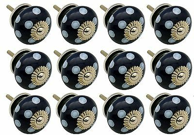 Ceramic Cupboard Drawer Knobs - Polka Dot - Dark / Light Blue - Pack Of 12