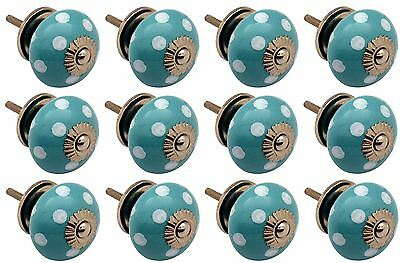Ceramic Cupboard Drawer Knobs - Polka Dot - Turquoise / White - Pack Of 12