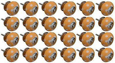 Ceramic Cupboard Drawer Knobs - Polka Dot Design - Orange / White - Pack of 24