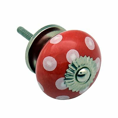 Ceramic Cupboard Drawer Knob - Polka Dot Design - Red / White