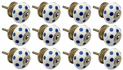 Ceramic Cupboard Drawer Knobs - Polka Dot - White / Dark Blue - Pack Of 12