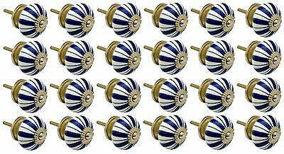 Ceramic Cupboard Drawer Knobs - Floral Design - Dark Blue Lines - x24