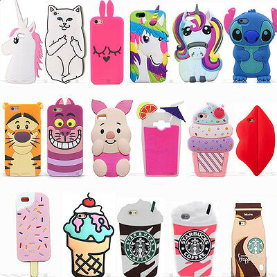New 3D Cute Cartoon Animals Soft Silicone Case Covers Back For LG Various Phones