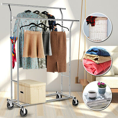 Adjustable Double Rail Clothing Garment Rack Commercial Grade Chrome Silver
