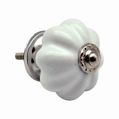 Ceramic Cupboard Drawer Knobs - Solid Vintage Design - White