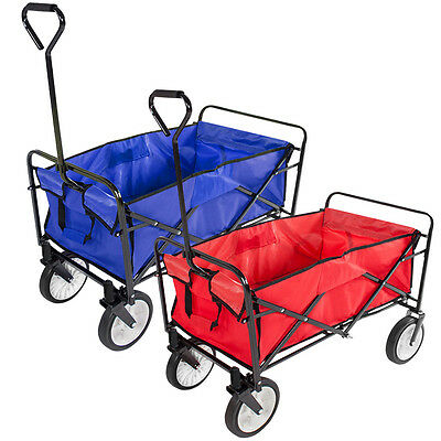 Folding Garden Trolley Cart Wagon 4 Wheel Pull Along Heavy Duty Wheelbarrow XL