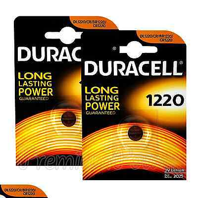 2 x Duracell Lithium CR1220 3V Coin Cell batteries DL1220 KCR BR2430 EXP:2025