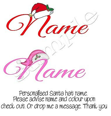 Iron On Transfer Merry ChristmasPersonalised With Any Name Santa Hat Pink Red