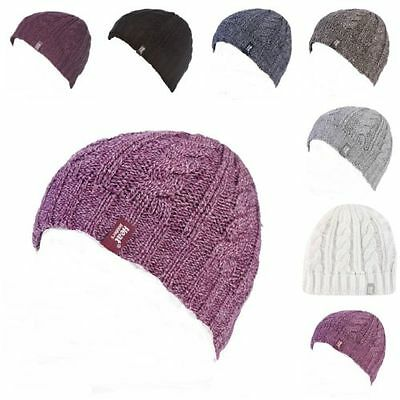 Heat Holders - Womens Warm Fleece Lined Cable Knit Thermal Winter Beanie Hat