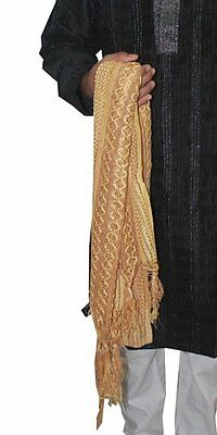 Gold Shawl Men Dupatta Scarf Indian traditional  Kurta sherwani stole Ethnic New