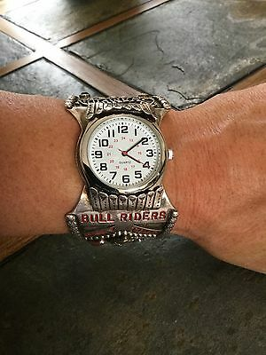 1998 Ray Gray Champion Bull Riders Only Tour Sterling Silver Watch Cuff Bracelet