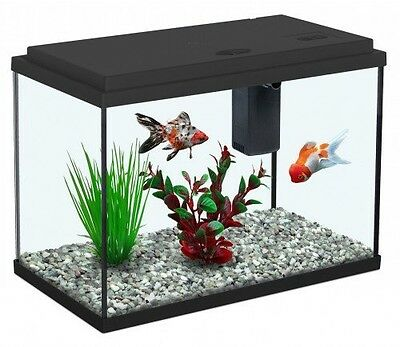 New Goldfish / Cold Water Aquarium Fish Tank 15, Small Black, Filter Included