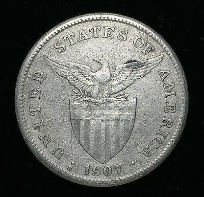 1907s US-Philippines 1 Peso Silver Coin - lot #11A